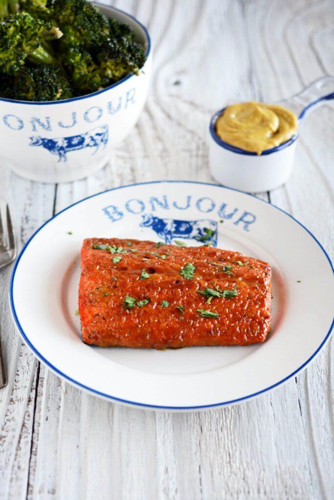 Salmon with Mustard and Brown Sugar Glaze