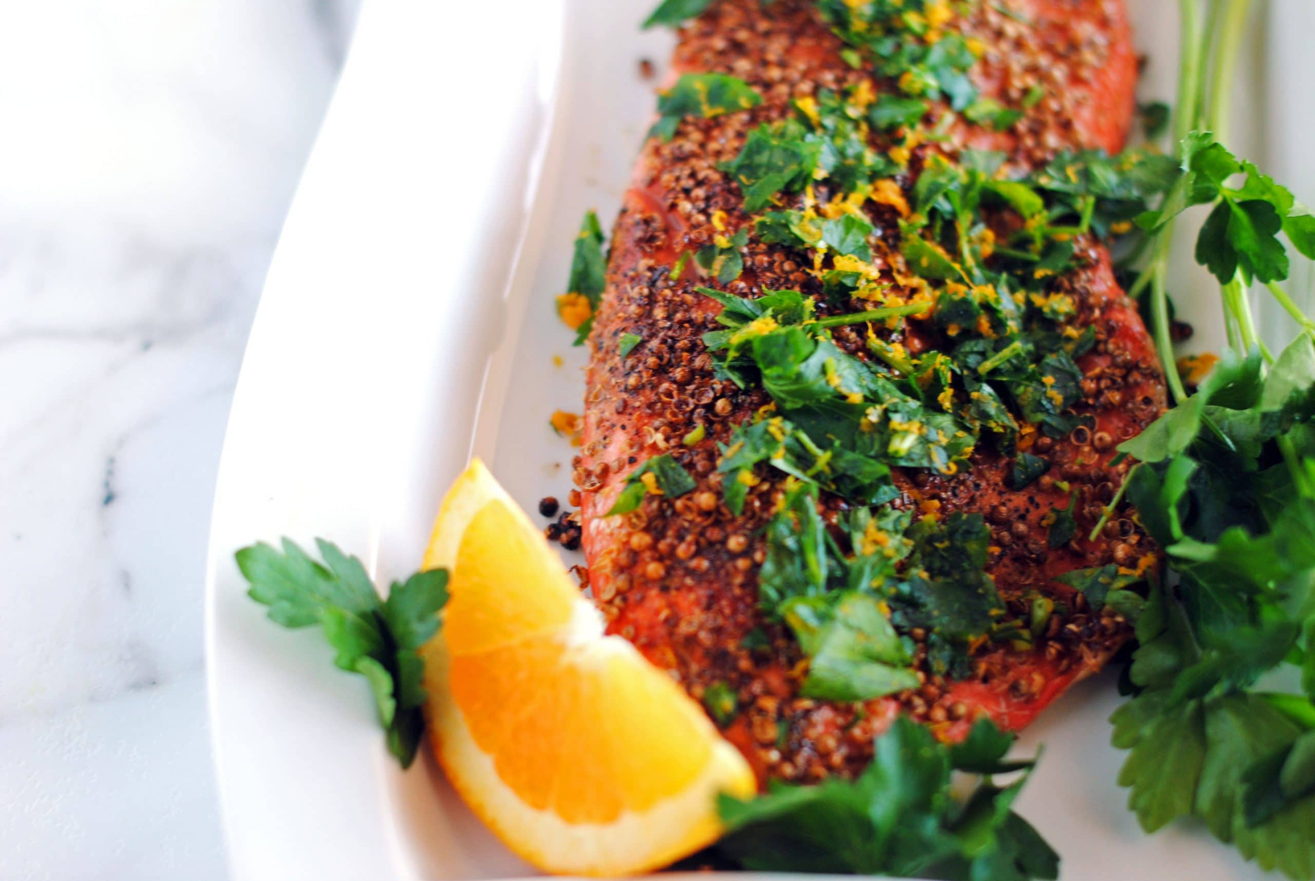 Pepper and Coriander Coated Salmon Filets