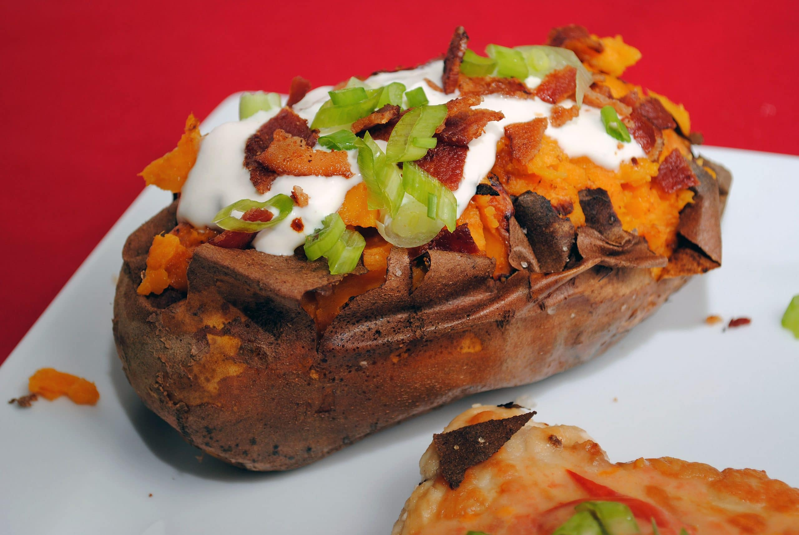 Baked Sweet Potatoes with Maple Jalapeno Sour Cream