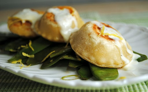 Homemade Crab and Goat Cheese Ravioli with Spicy Snow Peas