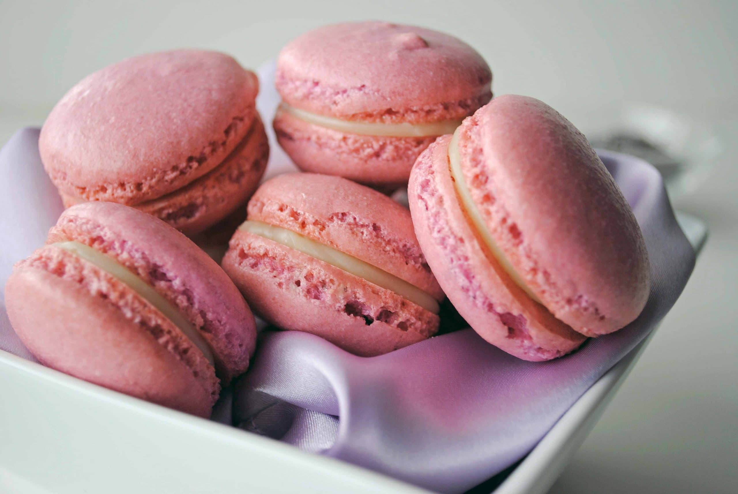 French Macaroons with White Chocolate Lavender Ganache