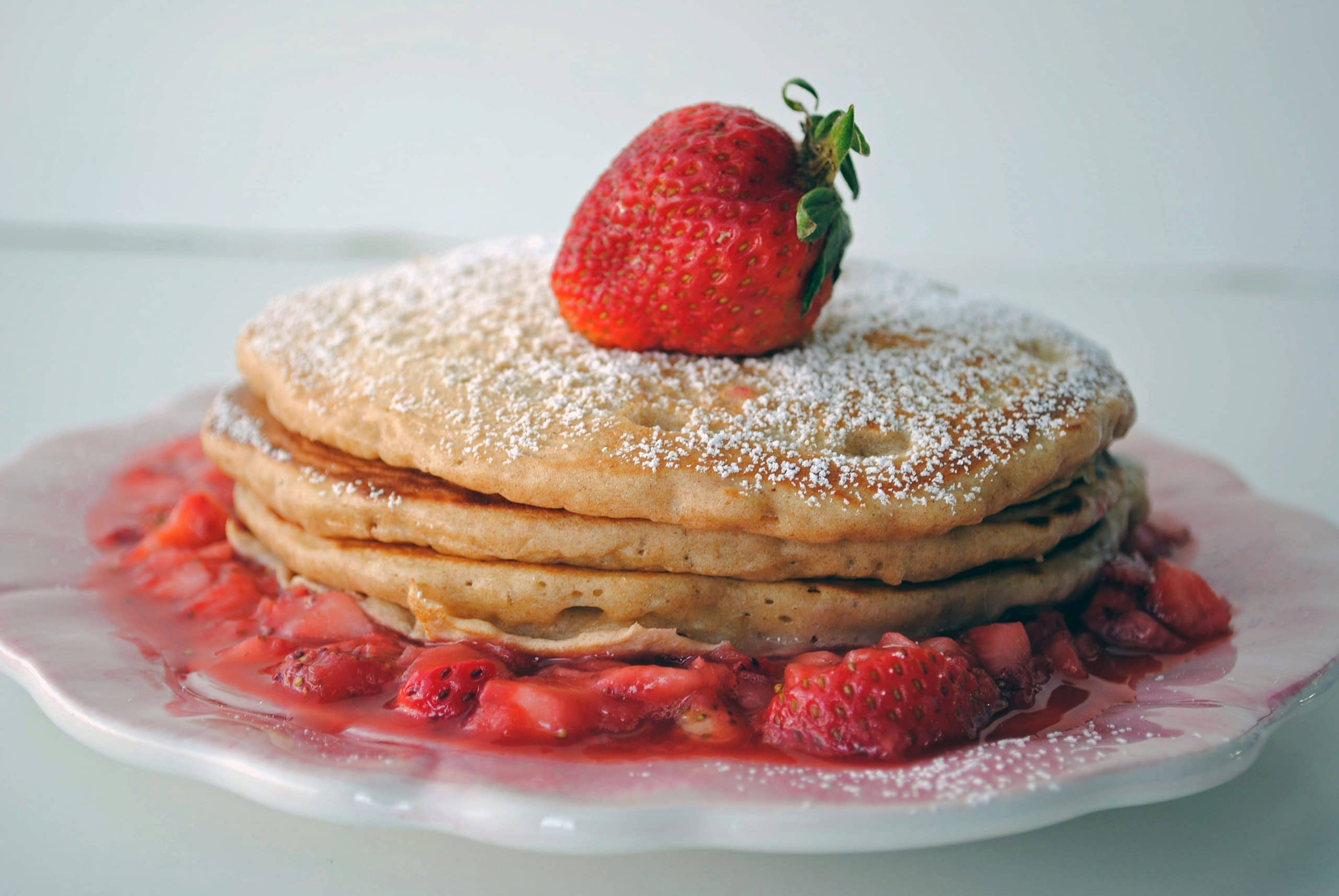 Whole Wheat Pancakes with Strawberry Sauce