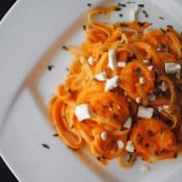 Shrimp Linguine with Creamy Red Pepper Sauce