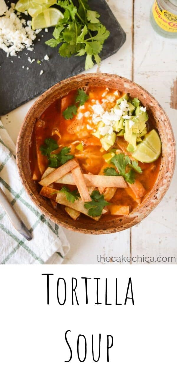 Almost homemade Tortilla Soup with all the homemade flavor made in just a fraction of the time. #soup #tortillasoup #souprecipes #chickensoup #thecakechica