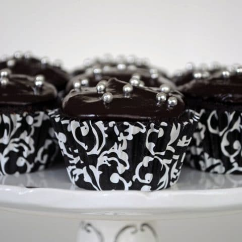 Old-Fashioned Chocolate Cupcakes with Glossy Chocolate Icing