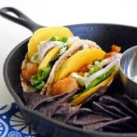 Popcorn Scallop Tacos with Cilantro-Avocado Crema