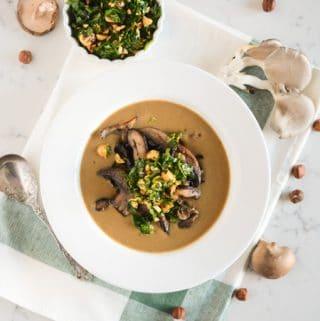Mushroom Soup with Hazelnut Gremolota