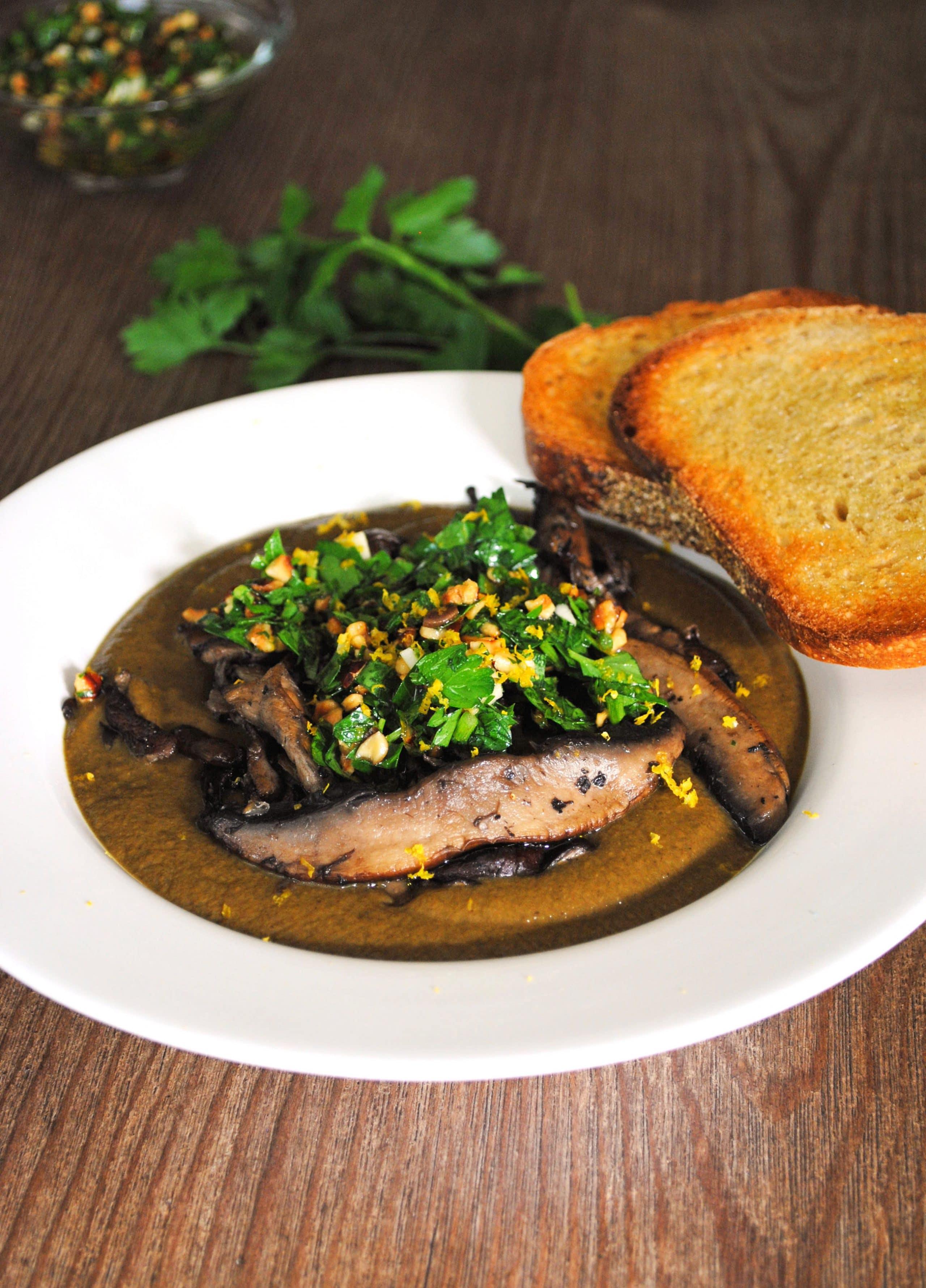 Mushroom Soup With Hazelnut Gremolata Recipe — Dishmaps