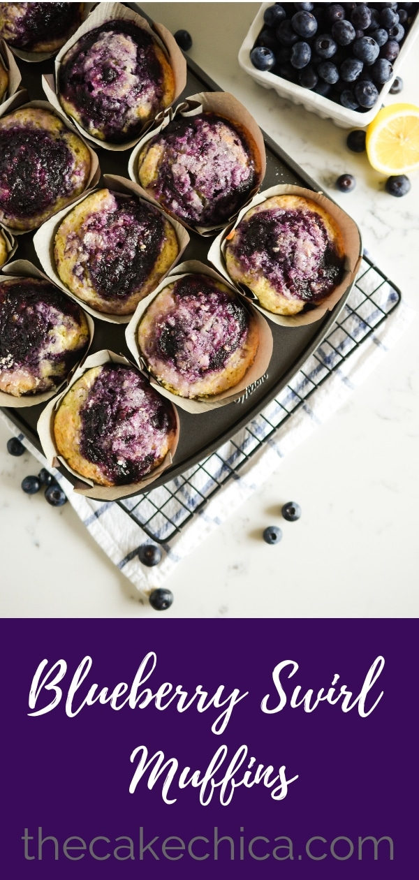 Blueberry Swirl Muffins made with fresh blueberries, a homemade blueberry jam swirl and a lemon-sugar topping. #blueberrymuffins #blueberry #muffins #breakfast #blueberryjam