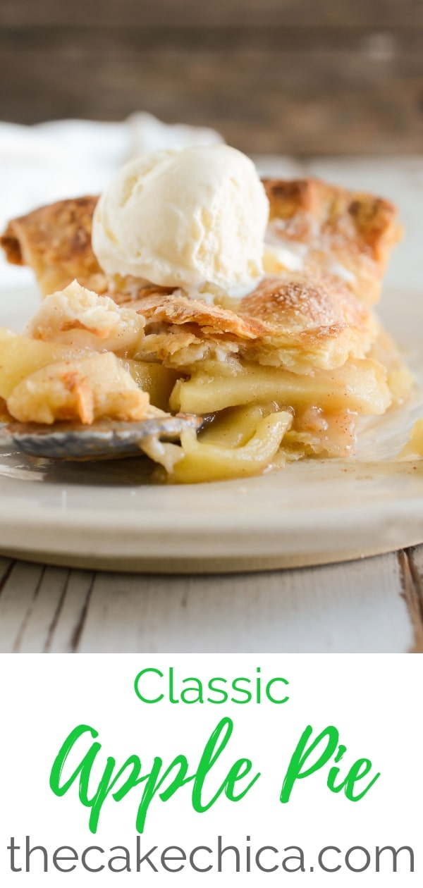 Classic Apple Pie with a flaky crust filled with a mix of Granny Smith and Golden Delicious apples. #applepie #fallbaking #fall #baking #apples
