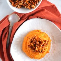 Sweet Potatoes with Crispy Rice Topping