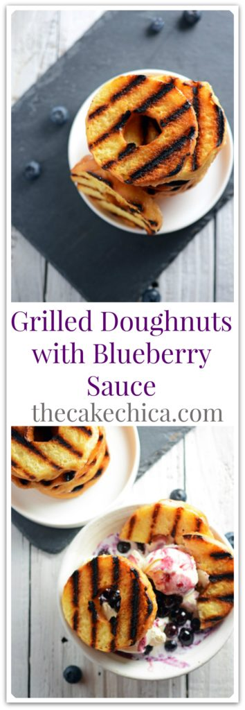 Grilled Doughnuts with Blueberry Sauce