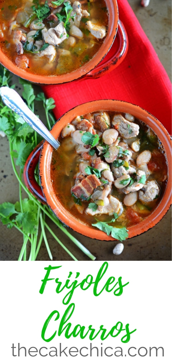 Charro beans made from dried pinto beans, pork shoulder, bacon, onions and poblano chiles! A Mexican food staple you can make at home! They'll only taste like you got them from a high class Mexican restaurant! #beans #soupbeans #Mexican #Mexicanfood #charrobeans