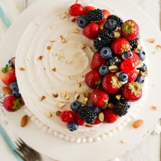 White Almond Cake with Buttercream Frosting