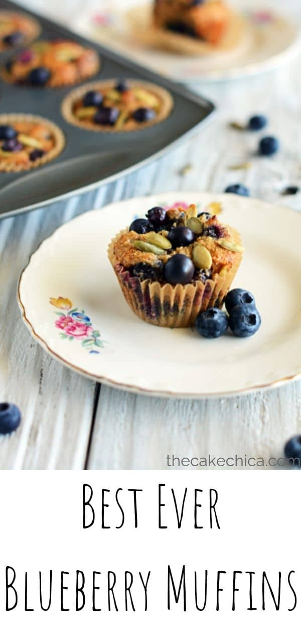 Light and airy blueberry muffins made with almond flour, spices, ghee, honey  and fresh blueberries. #muffins #blueberrymuffins #blueberries #breakfast #thecakechica