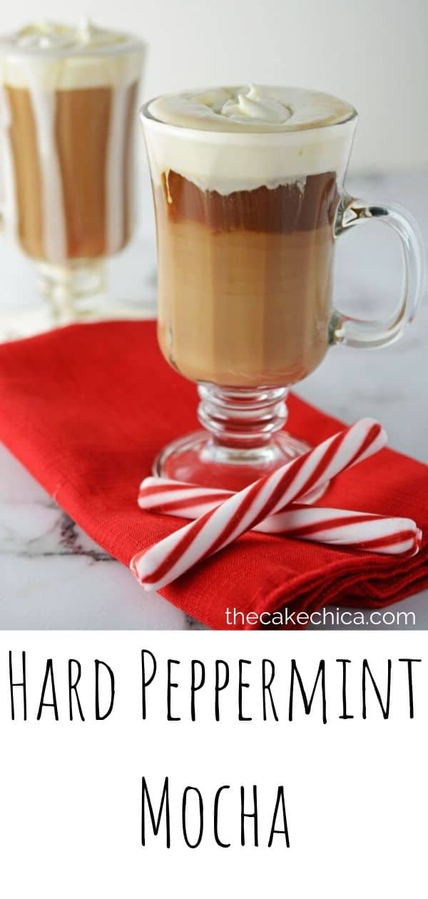 Coffee drink made with peppermint schnapps, chocolate liqueur and homemade whipped cream. #coffee #cocktails #beverage #peppermint #thecakechica