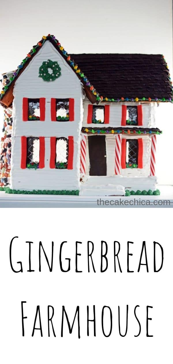 Homemade Gingerbread Farmhouse made with royal icing, fondant, and candy. #gingerbread #gingerbreadhouse #christmasrecipes #farmhouse #thecakechica