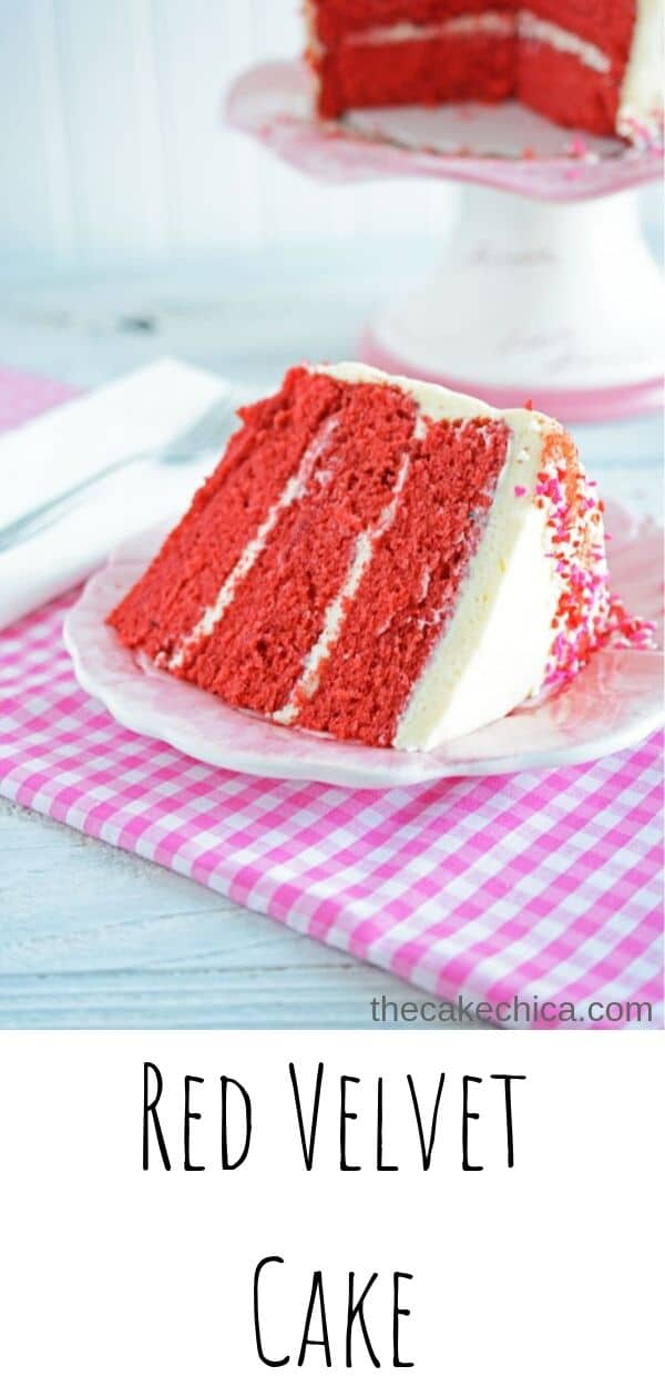 Homemade red velvet cake with fluffy cream cheese frosting gets all dressed up for Valentine's Day. #cakes #layercakes #redvelvetcake #creamcheesefrosting #thecakechica