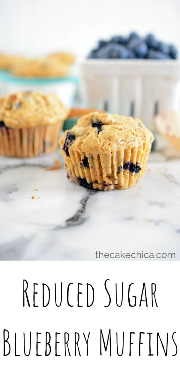 Reduced sugar blueberry muffins made with Sucanat and fresh blueberries. #muffins #breakfast #blueberries #blueberrymuffins #thecakechica