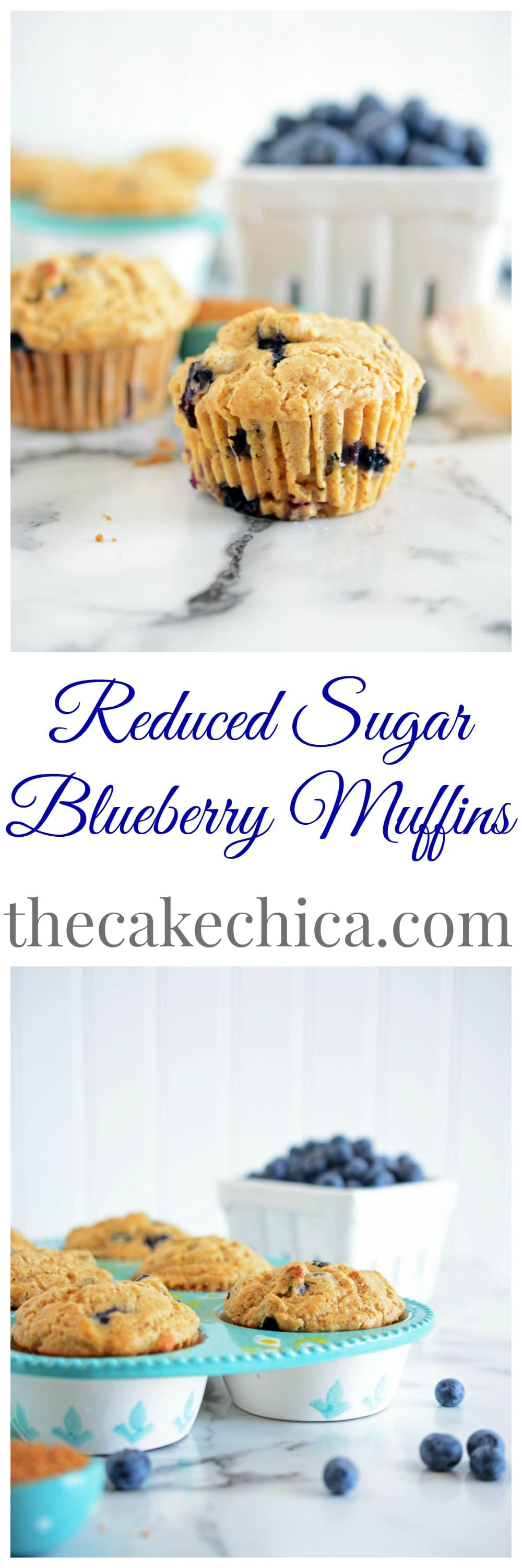 Reduced Sugar Blueberry Muffins