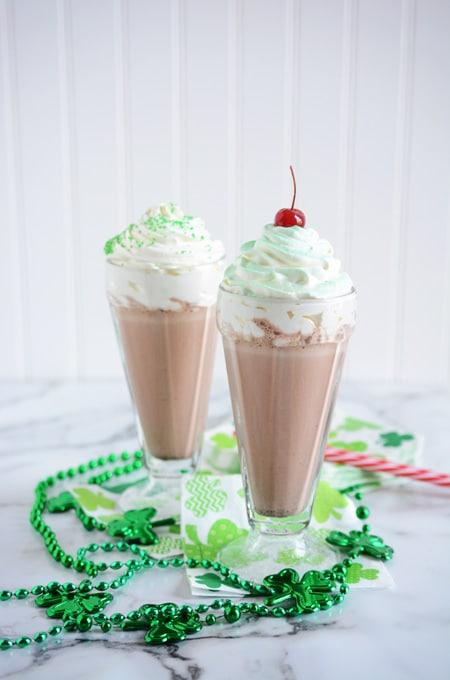 Mint Chocolate Chip Milkshakes