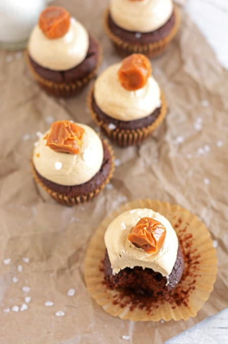 Chocolate Cupcakes with Caramel-Espresso Buttercream