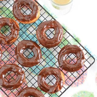 Old-Fashioned Sour Cream Dougnuts with Chocolate Glaze