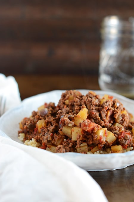 Beef Picadillo Over Brown Rice
