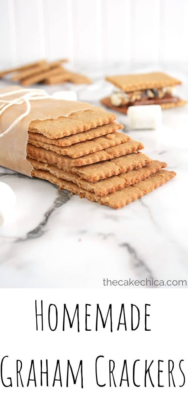 Homemade Graham Crackers made with cinnamon and honey. #grahamcrackers #crackers #honey #baking #cinnamon #thecakechica