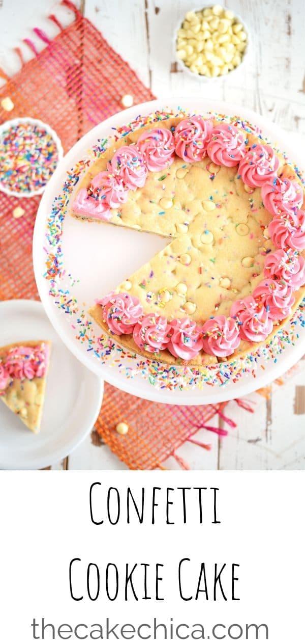 Large sugar cookie baked with white chocolate chips and sprinkles!  #cookie #cookiecake #sprinkles #sugarcookie #cake