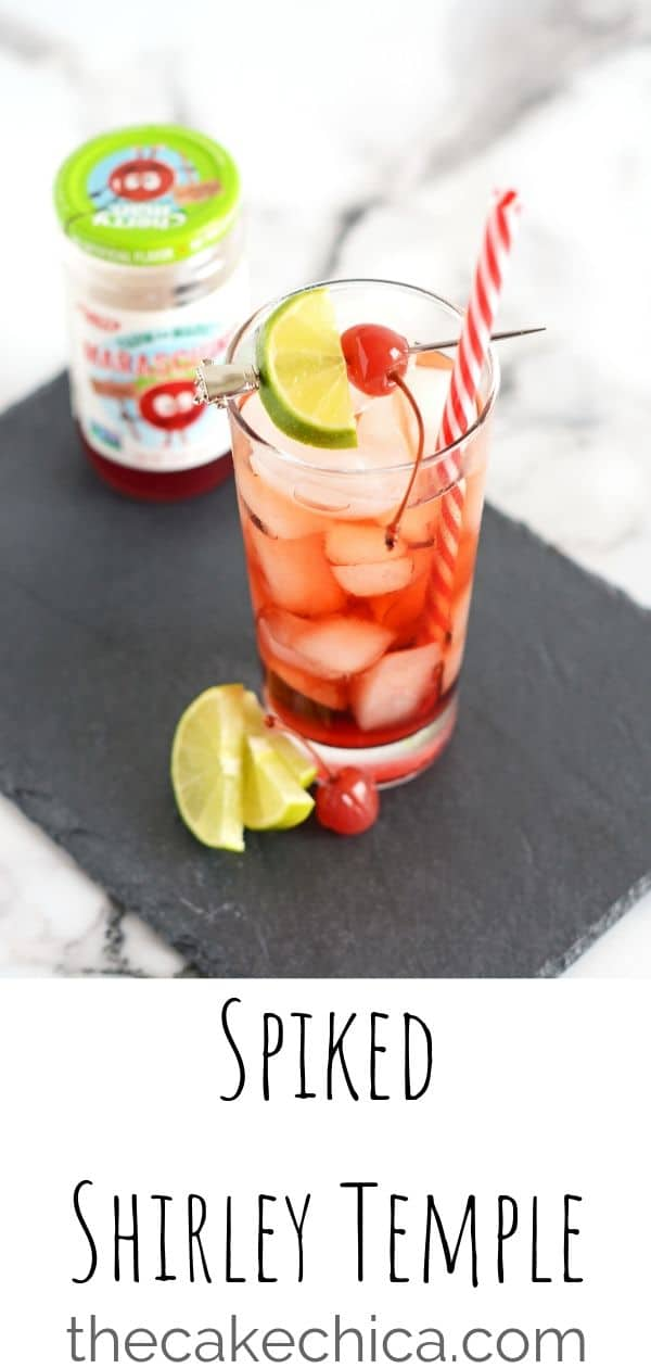 An adult version of a favorite childhood classic. Soda, Maraschino juice, cherry liqueur and gin create this fun cocktail. #cocktail #shirleytemple #drinks #beverage #mixeddrinks