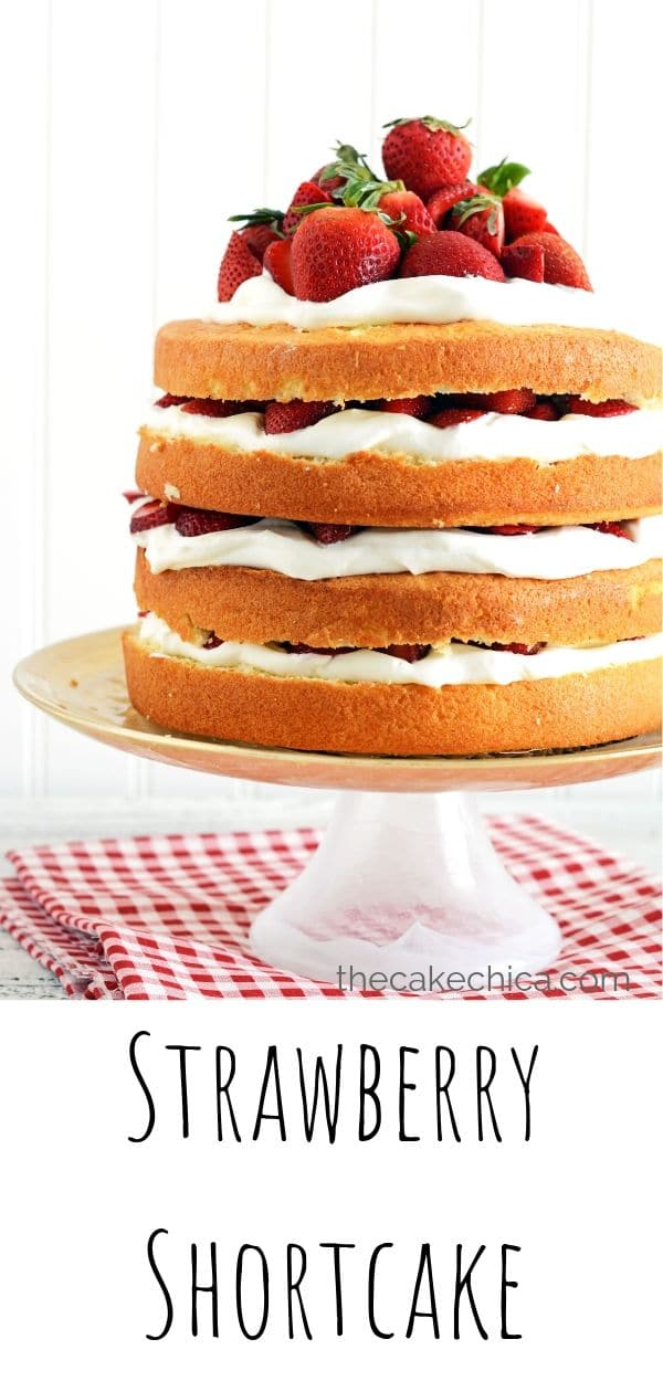 Four layers of homemade sponge cake filled with homemade whipped cream and fresh strawberries.