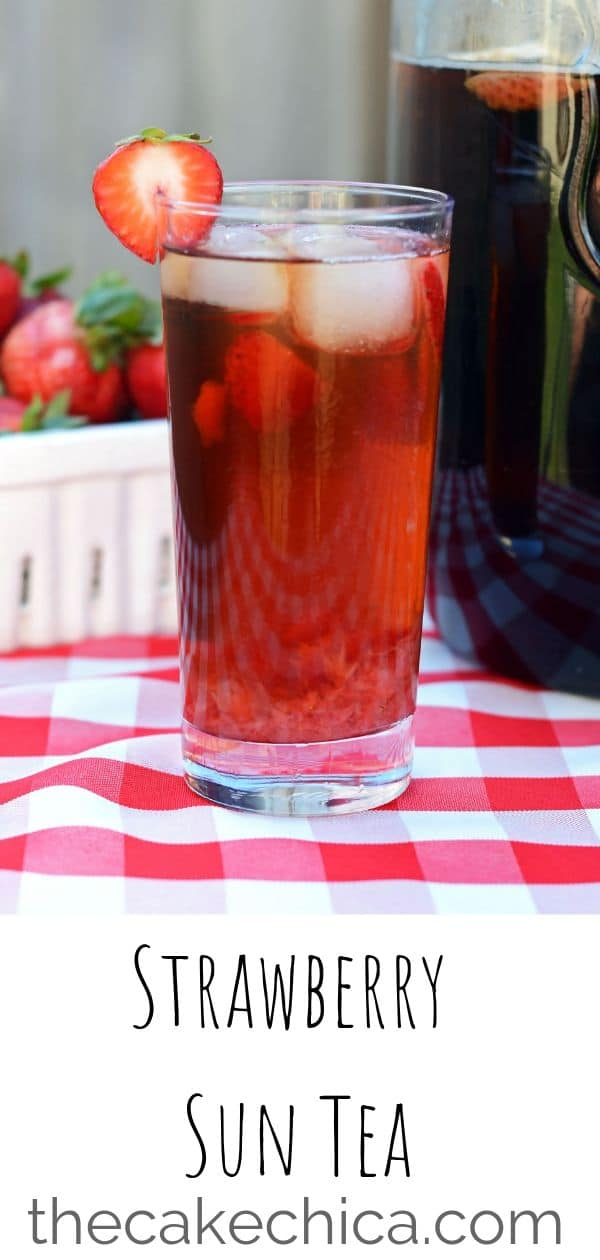 Black tea brewed in the sunshine with a strawberry muddle mixed in. #tea #icedtea #suntea #strawberrytea