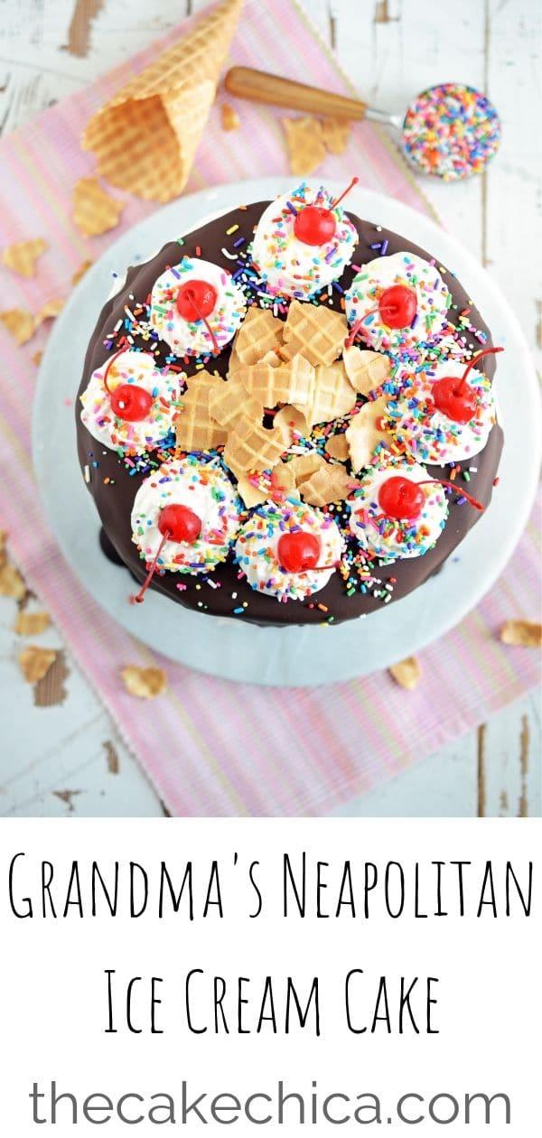 Sponge cake sandwiched between layers of chocolate, vanilla and strawberry ice cream. Then, topped with magic shell, maraschino cherries, homemade whipped cream, sprinkles and crushed up ice cream cone. #icecream #icecreamcake #summerdessert #neapolitanicecream