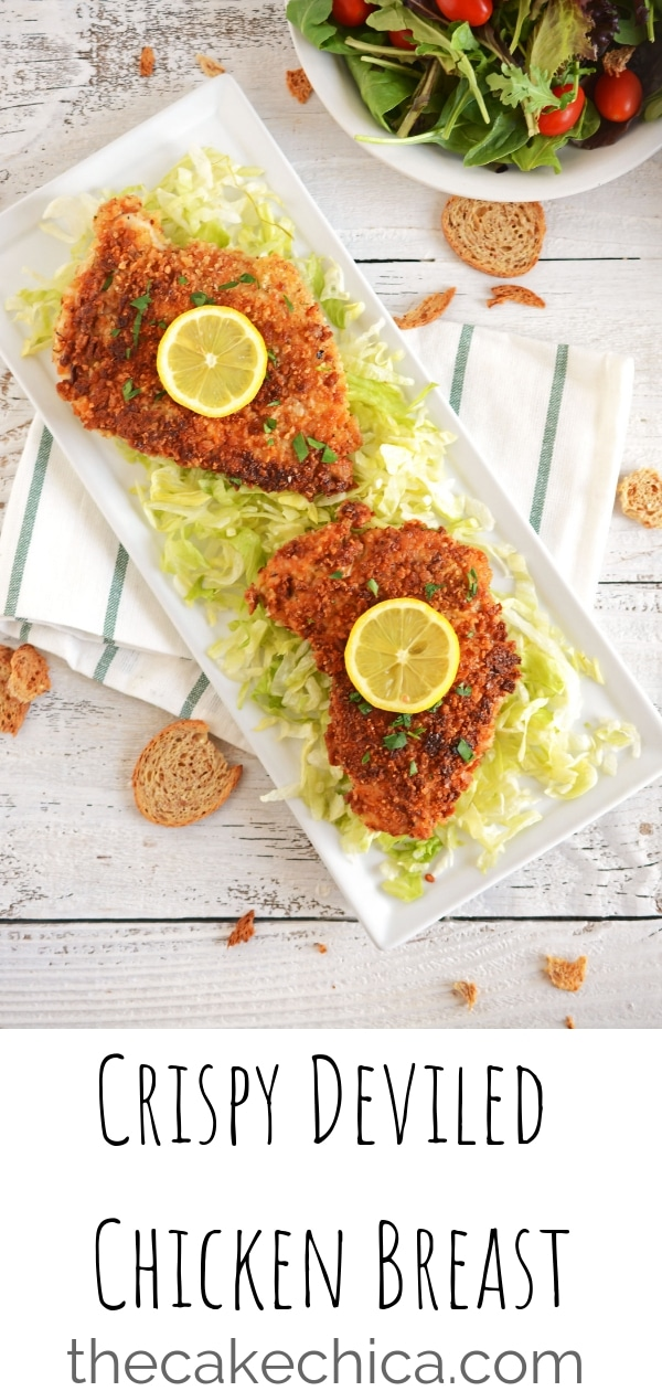Crispy Deviled Chicken Breast coated in panko bread crumbs and bread crisps or croutons, pan fried and served with a splash of lemon juice. #chicken #chickenbreast #breadedchicken #friedchickenbreast #panfriedchickenbreast