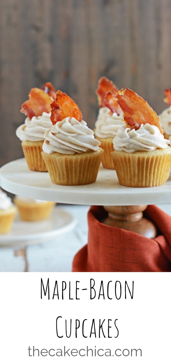 Maple cupcakes, topped with a cinnamon-maple buttercream and garnished with a piece of maple bacon. #cupcakes #maplecupcakes #bacon #baconcupcakes