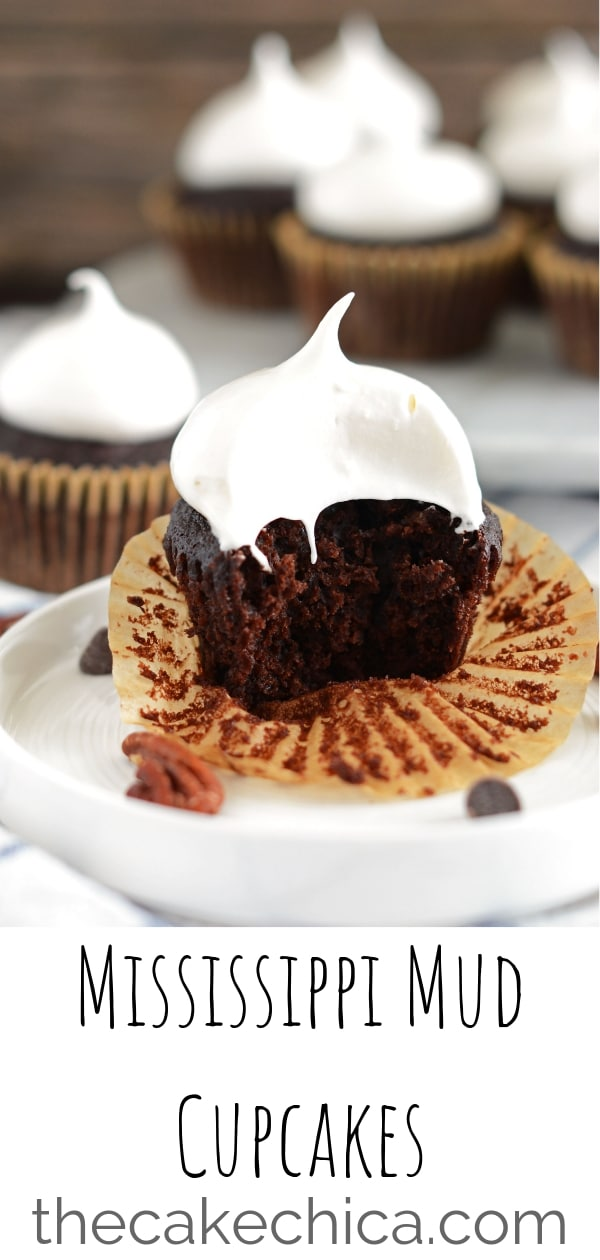 Rich, dark chocolate cupcakes with pecans baked inside, topped with marshmallow frosting. #cupcakes #chocolatecupcakes #marshmallow #mississippimudcake #cake