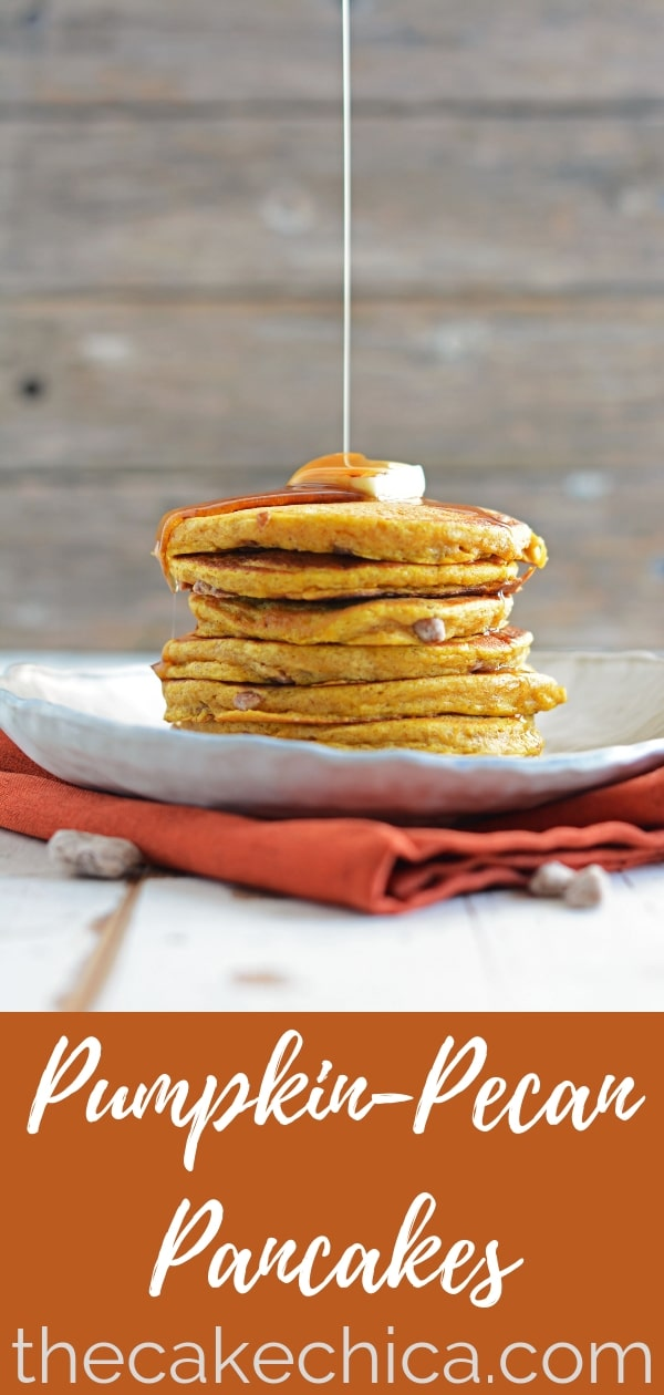 Fluffy Spiced Pumpkin-Pecan Pancakes with candied pecans inside.