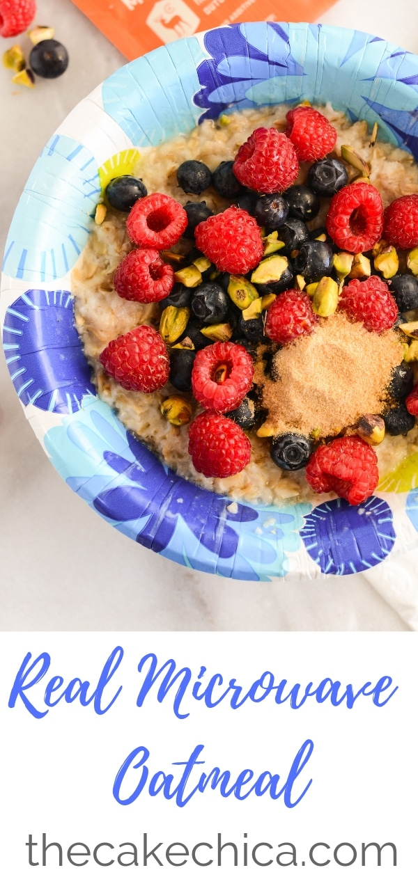 Microwave oatmeal using organic rolled oats, and your favorite toppings of choice! #oatmeal #microwaveoatmeal #organicoatmeal #breakfast #healthybreakfast