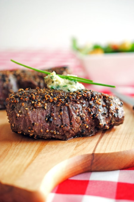 Pepper-Crusted-Filet-Mignon-with-Blue-Cheese-Chive-Butter