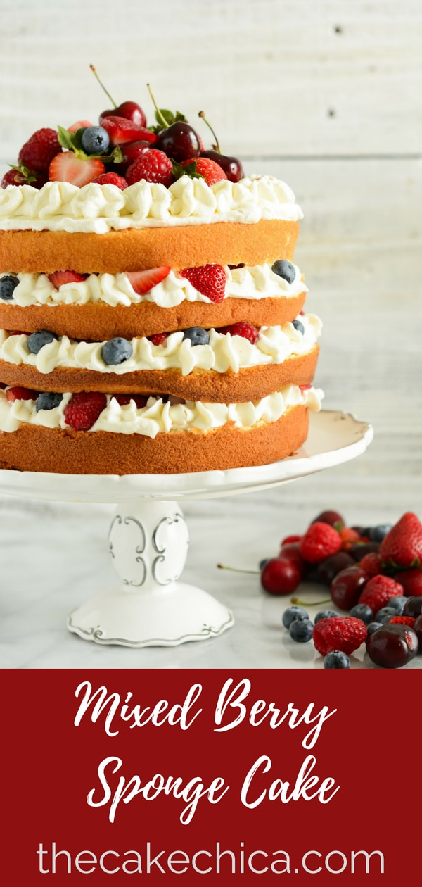 Four layers of sponge cake, brushed with a soaking syrup, filled with whipped cream and fresh berries. #berries, spongecake #mixedberries #baking #cake #layercake