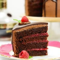 Chocolate Raspberry Cake with Whipped Ganache Frosting