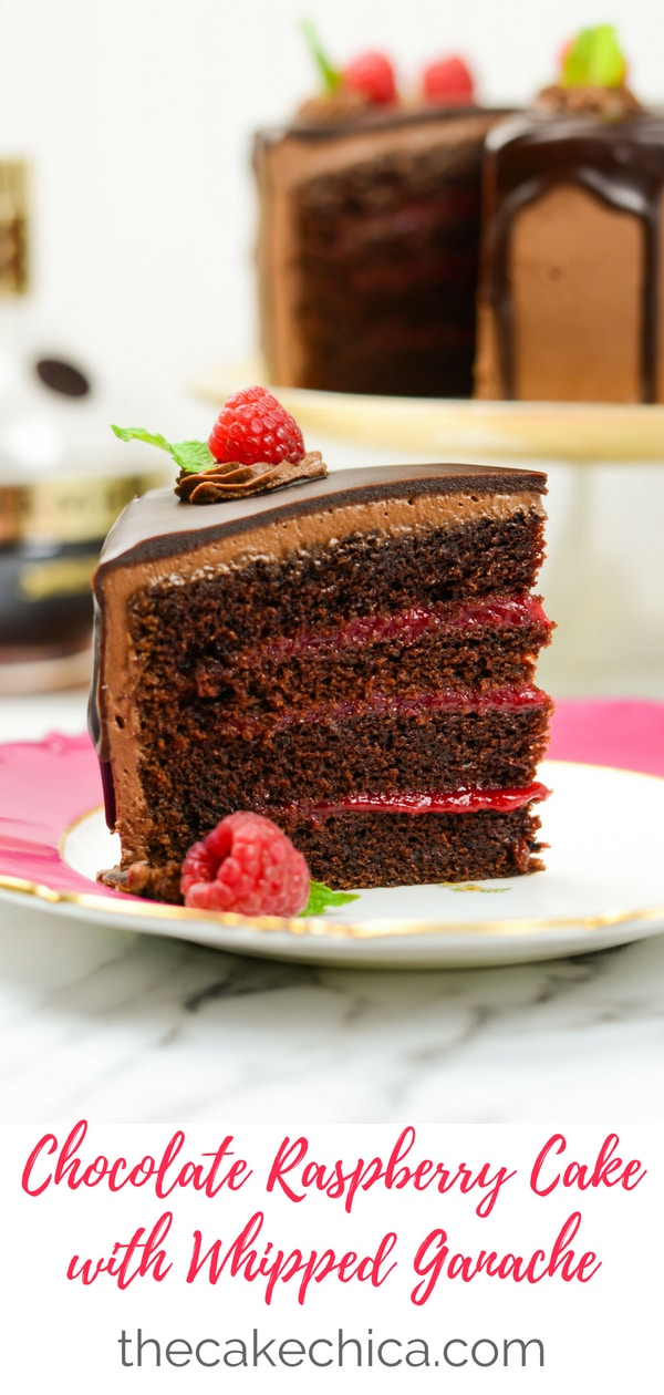 Four layers of sour cream chocolate cake, filled with fresh raspberry filling, frosted with a whipped chocolate ganache, then topped with a dark chocolate glaze. #chocolatecake #raspberry #chocolateraspberry #chocolate #ganache
