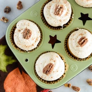 Pumpkin Cupcakes with Fluffy Maple Cream Cheese Frosting