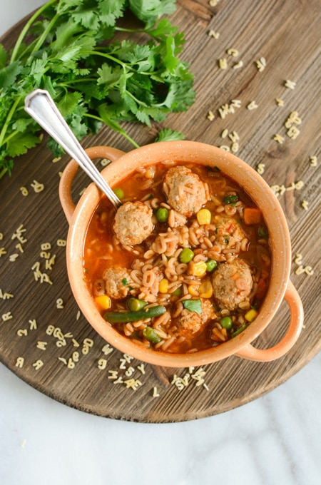 Mexican Alphabet Soup with Turkey Meatballs