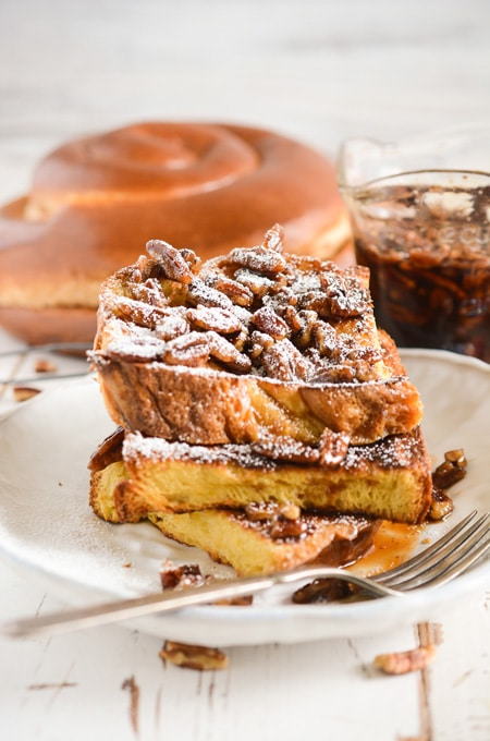 Overnight French Toast with Maple-Pecan Syrup