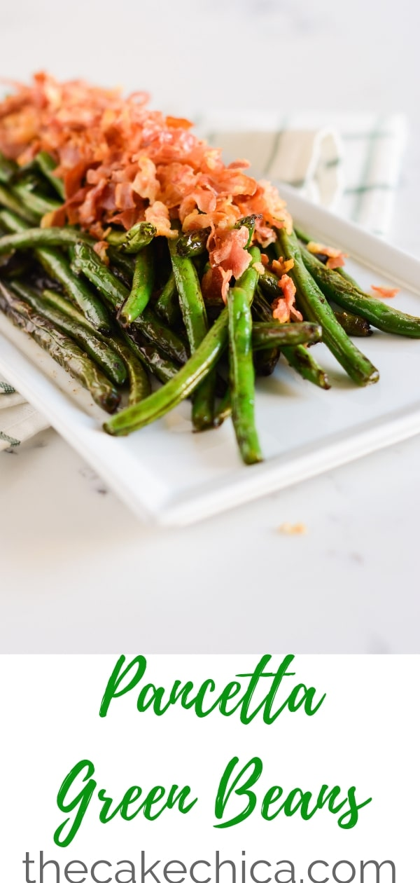 Fresh green beans, sauteed in butter and blistered, then topped with crunchy pancetta. #greenbeans #greenbeanrecipes #recipes #pancetta #sidedishes