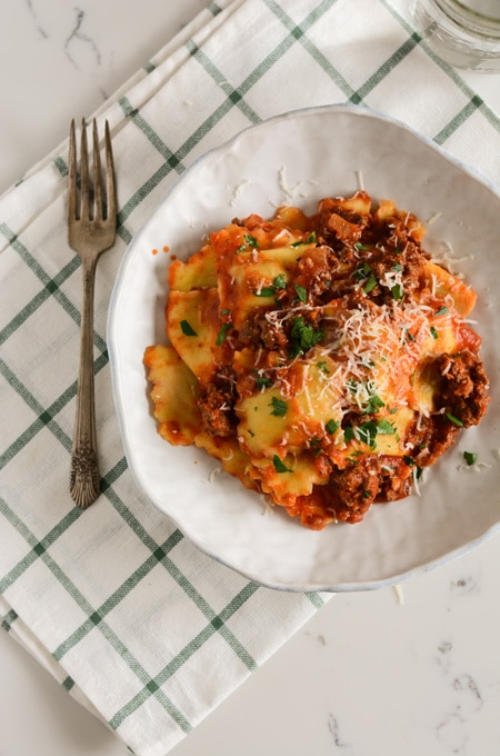 Porcini Ravioli with Meat Sauce