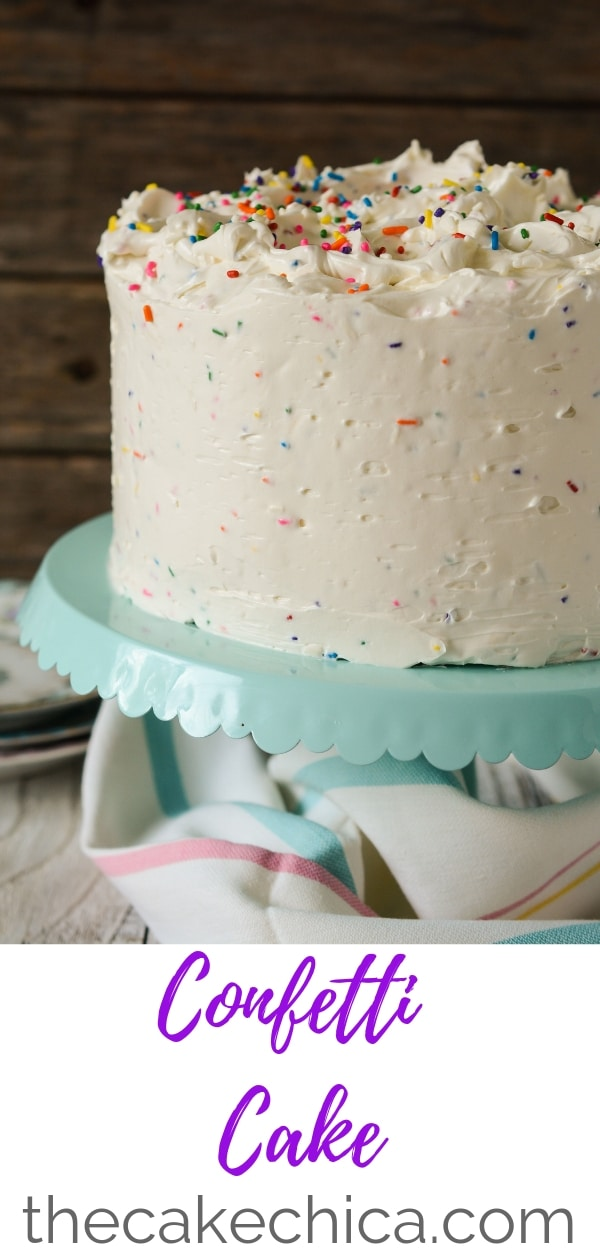 Three layers of confetti cake, soaked in cake flavored soaking syrup, then filled and frosted with a confetti Swiss meringe buttercream. #cakes #layercakes #confetticake #funfetticake