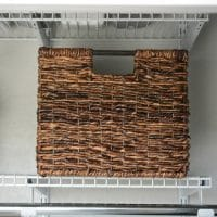 "Wicker Large Milk Crate Dark Brown 11""x13"" - Threshold"